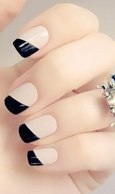 Sideways French manicure.