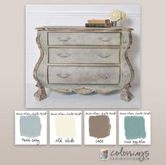 Colorways with Leslie Stocker » Chippendale Commode Annie Sloan Chalk Paint® Colors. Paris Grey, Old White, Coco, Duck Egg Blue