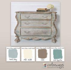 Annie Sloan Chalk Paint Colors: Paris Grey, Old White, Coco, Duck Egg Blue Redo Furniture, Painted Furniture Colors, Shabby Chic Dresser, Annie Sloan Chalk Paint Colors, Colorful Furniture, Paint Colors, Chalk, Diy Chalk Paint, Furniture Makeover