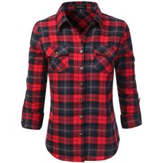 Doublju Hoodie Flannel Plaid Button Down Shirt With Pockets (Plus size... ($16) ❤ liked on Polyvore featuring tops, red button up shirt, plaid button up shirts, flannel shirts, plus size flannel shirts and red flannel shirt