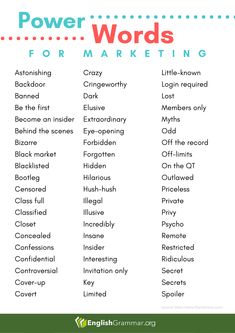 Power words for marketing Teaching Writing, Writing Tips, English Vocabulary, English Grammar, Good Grammar, Write Online, Sentence Structure, Daily Word