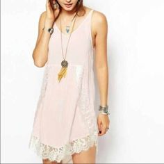 Free people, pink slip dress super cute! apart of their intimate line, worn once! size small, baby pink Free People Dresses Mini