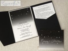 A dark starry night wedding invitation tucked inside a black metallic  Pocket Fold® | by Lasso'd Moon
