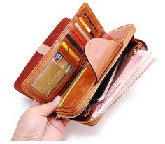 667ac524f48 2018 Genuine Leather Wallet for Women Female RFID Blocking Wallets Big  Travel Zipper Women's Purse Ladies Long Phone Holder-in Wallets from  Luggage & Bags ...