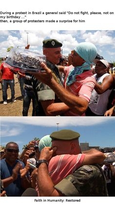 This exchange between a protester and a soldier during a protest in Brazil.