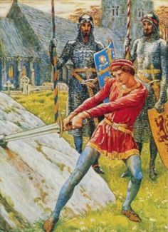 Walter Crane British, 1845 - 1915  Arthur withdrawing Excalibur from the stone