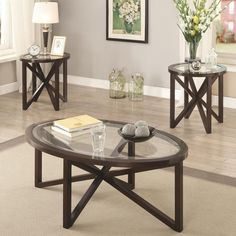Add intrigue to your room with the Coaster Furniture 3 Piece Glass Top Coffee Table Set - Brown . This three-piece set includes a coffee table and two. Coffee Table End Table Set, Stylish Coffee Table, Glass Top Coffee Table, End Table Sets, End Tables, Coffee Tables, Dining Sets, Tempered Glass Table Top, Coaster Fine Furniture