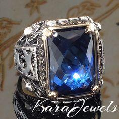 925 Sterling Silver Men Ring with Blue Sapphire CZ Unique KaraJewels Design #KaraJewels #Turkish