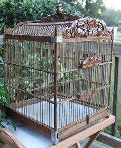 Vintage Victorian  Wooden Bird Cage