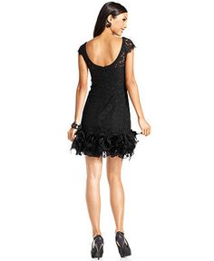 Christmas Party Dress?    Jessica Simpson Dress, Cap-Sleeve Lace Feather-Hem - Macy's