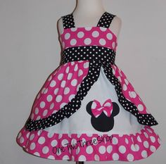 Minnie Mouse dress Med Pink peekaboo Jumper Dress by amacim Little Girl Dresses, Girls Dresses, Toddler Outfits, Kids Outfits, Frocks For Girls, Girl Dress Patterns, Disney Dresses, Jumper Dress, Baby Dress