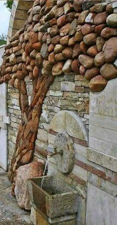 Outdoor Projects, Garden Projects, Pallet Projects, Art Projects, Garden Stones, Diy Garden Decor, Easy Garden, Garden Pool, Fountain Garden