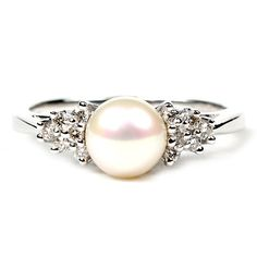 Love! 14K white Gold Ladies Pearl and Diamond Engagement Ring...blue diamonds