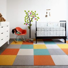 FLOR carpet tiles. Toy Poodle. Love this combo for a nursery.