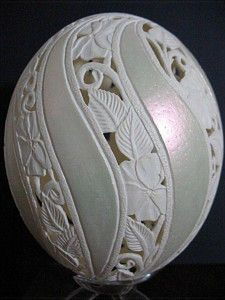 Ostrich Egg Carving by Nellie Whitener More