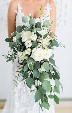 Hottest 7 Spring Wedding Flowers---white roses cascading bridal bouquets with greenery for spring weddings, diy bridal bouquets wedding bouquets Hottest 7 Spring Wedding Flowers to Rock Your Big Day Cascading Wedding Bouquets, Cascade Bouquet, Spring Wedding Flowers, Wedding Flower Arrangements, Bride Bouquets, Bridal Flowers, Flower Bouquet Wedding, Summer Flowers, Floral Wedding