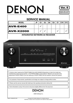 48 Best Denon Audio/Video Devices Service Manuals images in