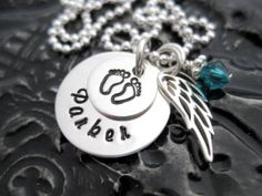 Hand Stamped Mommy Necklace - Personalized Jewelry - Angel Baby Tiny Stacker.