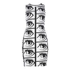 Stylista Select For Stylista Eye Spy Dress (125 BRL) ❤ liked on Polyvore featuring dresses, shift dress, white print dress, white color dress, mixed print dress and pattern dress