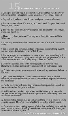 MIchael Kors Style Tips - so true