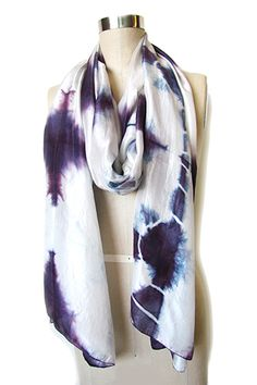 LOV Project Diamond Tie Dye Silk Scarf Purple
