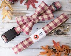 Fall Plaid Dog Collar and Bow Tie(Etsy のPoppyParkerMarketより) https://www.etsy.com/jp/listing/165371475/fall-plaid-dog-collar-and-bow-tie