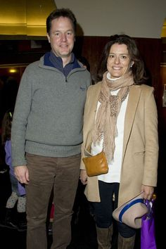 Nick Clegg with wife Miriam at a VIP performance of Room On The Broom.