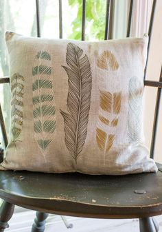 Ties the Plume Together Pillow - Dorm Decor, Better, Tan, Multi, Print, Feathers, Woven