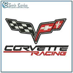 Corvette Racing Logo Embroidery Design | Emblanka.com Custom Art, Caricature, Corvette, Chevrolet Logo, Machine Embroidery Designs, Flag, Racing, Motorcycle, Cars