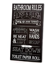 Black & White Bathroom Rules Wall Art