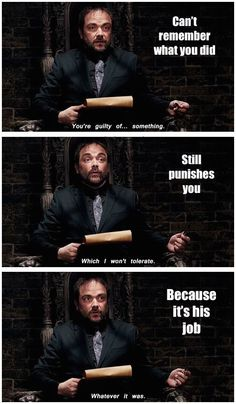 Image uploaded by Chesney Ghela. Find images and videos about funny, supernatural and crowley on We Heart It - the app to get lost in what you love. Mark Sheppard, Jared Padalecki, Castiel, Crowley Spn, Misha Collins, Sam Winchester, Jensen Ackles, Roman, Supernatural Memes