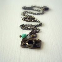 Handmade Vintage Style Retro Golden Camera Necklace - Handcrafted Whimsical Jewelry