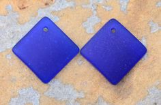 Shop Sale..2 Cobalt Blue Cultured Sea Glass by LindenAvenueDesigns
