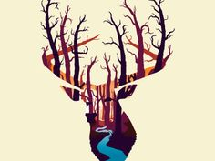 This illustration was nice. I can feel all the power of nature and life looking inside the dear. I think a deer is a great icon for the circle of life.