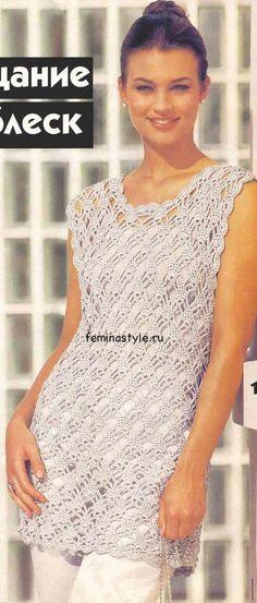 Топ с люрексом, связанный крючком crochet sleeveless shirt or top