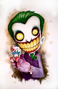 I found some new art that I really love!  Christopher Uminga takes mostly comic book and movie characters and makes awesome watercolor pieces.  Here's one of the Joker.  So cool!