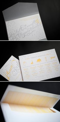 Cute idea for weekend festivities for Welcome bags or to include in invitation. Yellow and silver accent the custom hand calligraphy