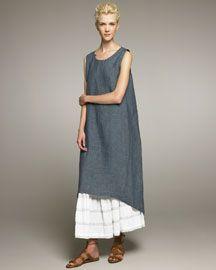 Linen dress and linen petticoat. Eskandar.