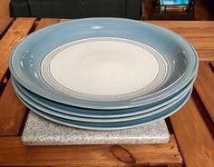 Vintage Blue Denby Castile Stoneware Set of 4 Dinner Plates