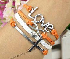 Silver cross bracelet  LOVE friendship LOVE by superbracelet, $6.99