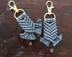 Grey Macrame Keychain