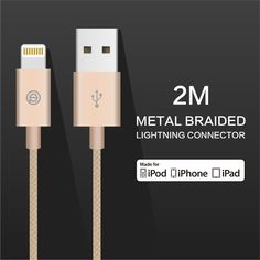 OPSO MFi Certified 2m/6.6ft Nylon Braided Lightning To USB Charging Cable For iPhone 7/7 Plus iPad Sale - Banggood.com