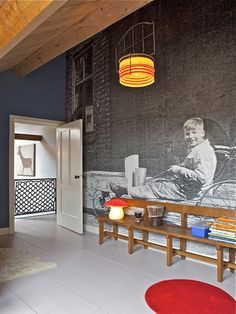 Black and white vintage photo enlarged into a wall mural. Yes we can do this for you! Ask us how: http://www.artistichomeowner.com/