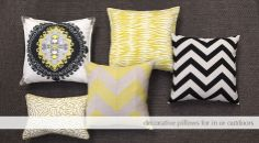 Decorative pillows for in or outdoors.