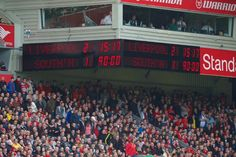 LIVERPOOL, ENGLAND - Sunday, August 17, 2014: Liverpool's scoreboard records the 2-1 victory over Southampton during the Premier League match at Anfield. (Pic by David Rawcliffe/Propaganda)