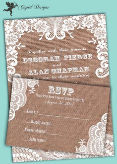 Burlap lace romantic wedding invitation and RSVP by CupidDesigns, $450.00