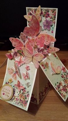 Beautiful butterfly pop-up card in box Pop Up Box Cards, 3d Cards, Card Boxes, Box Cards Tutorial, Card Tutorials, Organizer Box, Exploding Box Card, Memories Box, Step Cards