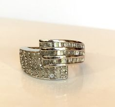 Diamond Ring Sterling Silver .50 CT by AntiqueJewelryForFun