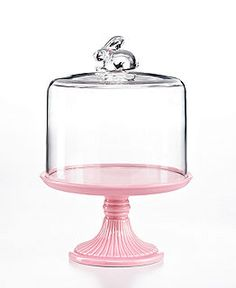 Pink Cake Stand with Rabbit Dome by Martha Stewart Collection. I am not fan of Martha Stewart, but this is beautiful especially for Easter. Cake Stand With Dome, Cake Dome, Cake Stands, Cake Stand Display, Martha Stewart, Cake Pink, Serveware, Tableware, Kitchenware