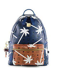 MCM Bicolor Palmtree-Printed Coated Canvas Backpack